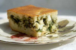 Быстрый (заливной) пирог с зелёным луком и яйцом. Рецепт c фото от кыш 6 июля 2010 на koolinar.ru