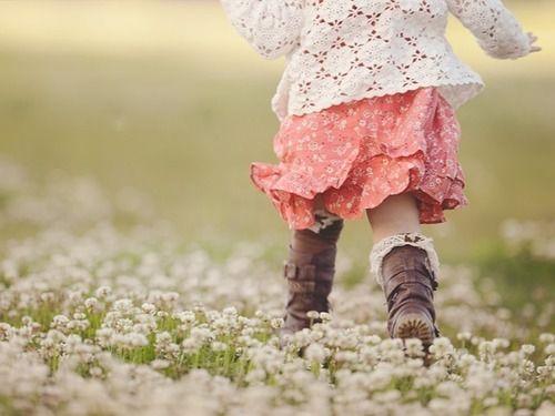 children among the flowers