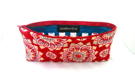 NEW Large Red and Teal Mandala Essential Oils Travel by SewNowWat, $25.99