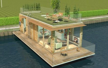 I love how light and airy this one bed houseboat is by the company ecofloatinghomes.A roof garden is an awesome idea and a great use of space.I'd want a two bedroomed one though so I'd have a half floor with a bedroom on top and a smaller garden area.Then I could add solar panels which wouldn't be that visible.