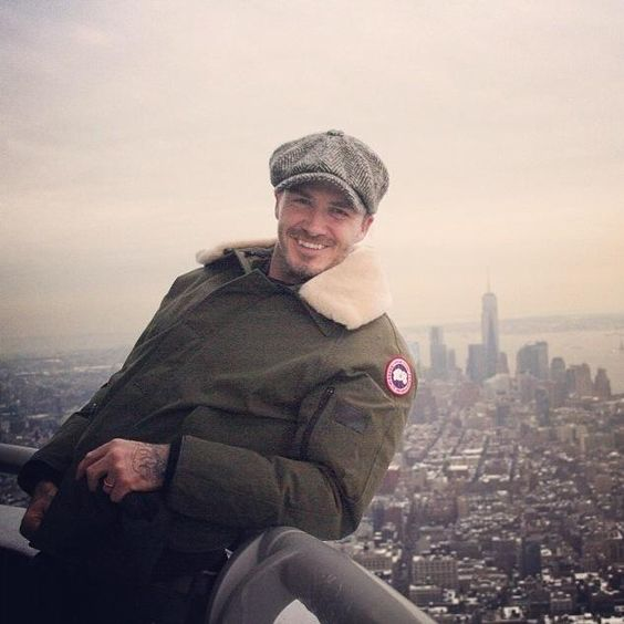 Canada Goose jackets replica official - David Beckham on top of the Empire State Building wearing the ...