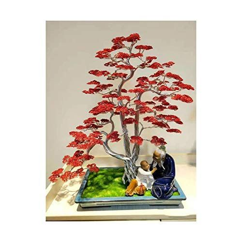 Sxgky Decor Lucky Tree Red Artificial Bonsai Simulation Fake Potted Bonsai Tree In 2020 With Images Money Tree Bonsai Bonsai Tree Plant Crafts