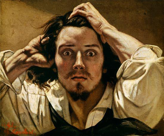 COURBET Gustave (1819-1877), Le désespéré (autoportrait),1843-45, huile sur toile, 45x55 cm, collection privée.