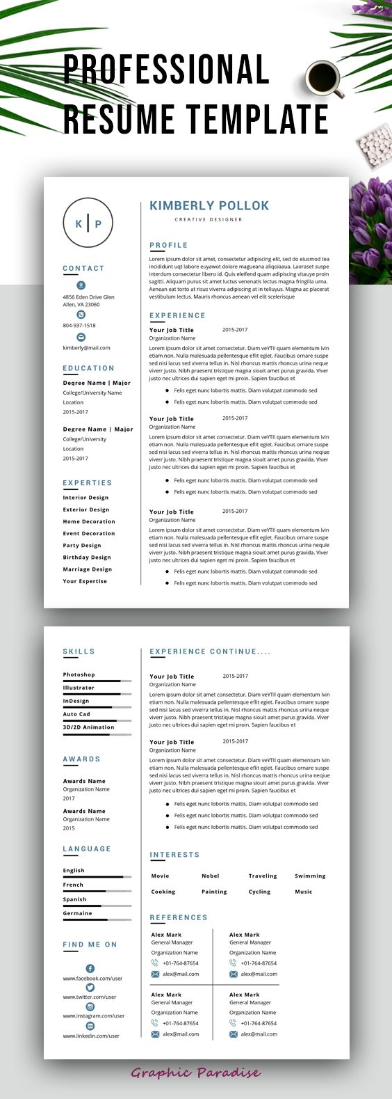 Resume Template Professional Resume Template Instant Download Resume Template Word Cv Resume Template Professional Resume Template Free Resume Template Word