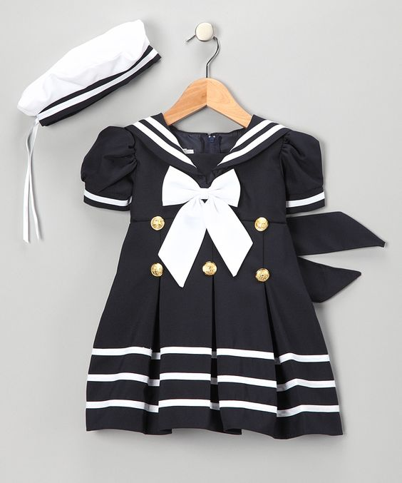 Navy Sailor Dress &amp- Hat - Infant- Toddler &amp- Girls - Daily deals ...
