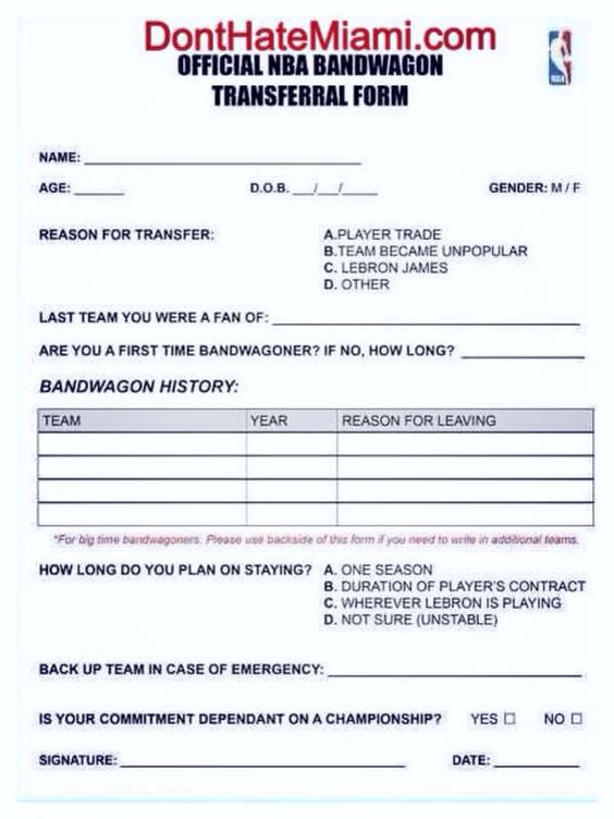 OFFICIAL NBA BANDWAGON TRANSFERAL FORM 2014 Applies to all - sample personal financial statement form