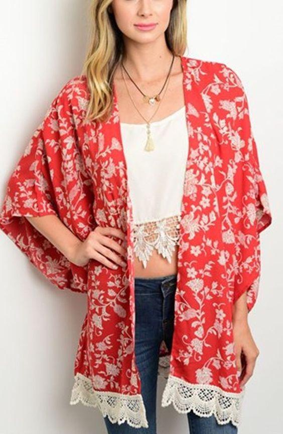 Cowgirl Kimono Cardigan Red Cream floral CROCHET NWT Western BOHO Gypsy Small  #MILEYANDMOLLY #cardigantopper