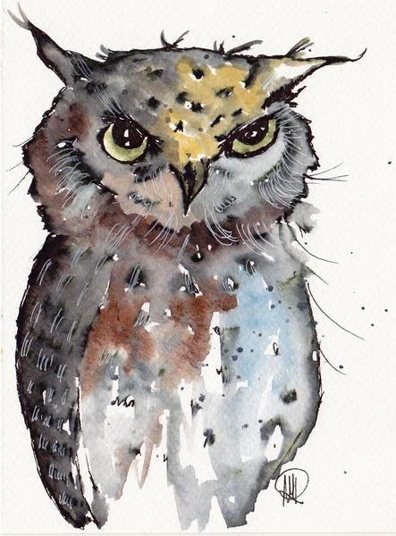 Baby Owl Watercolor Painting Original Watercolor Painting Art