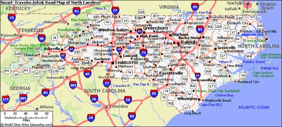 North Carolina Road Map North Carolina Pinterest North - Road map virginia