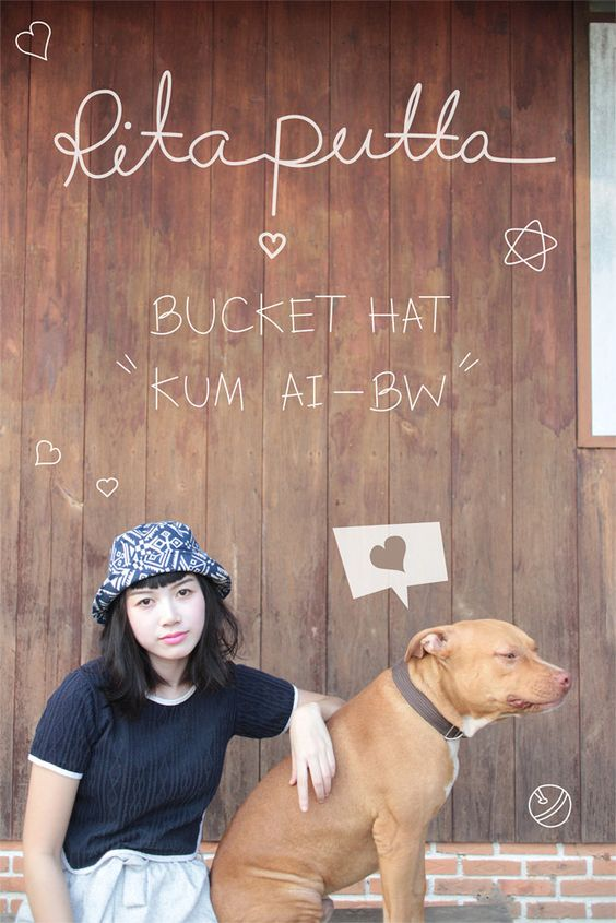Kum Ai BW Bucket Hat - Blue & White by Ritaputta on Etsy