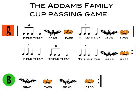 Cup Passing Game to the Addams Family Theme Song