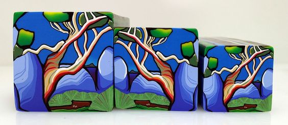 """Tree cane #29 """" Snow Gums 2"""" by Wendy Jorre de St Jorre."""