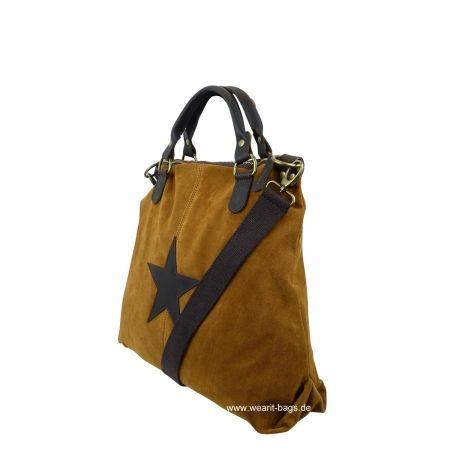 Wearit Bags - ITAL. DAMEN SCHULTERTASCHE SHOPPER IN WILDLEDER UND MIT LEDER STERN WS2828