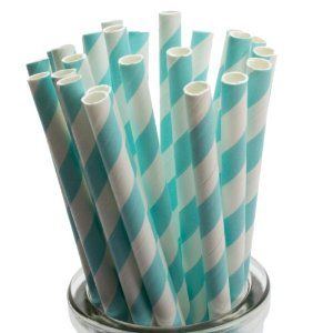 Striped drinking straws on Amazon - various colours avail:  pale blue/blue/red/pink pending on colour theme?