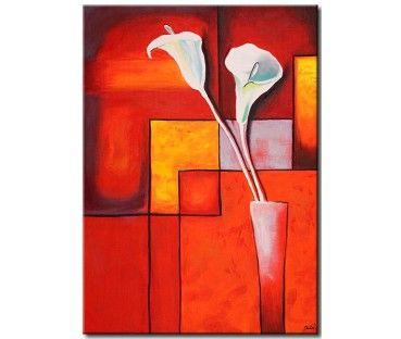 Tableau design Callas blancs sur fond abstrait