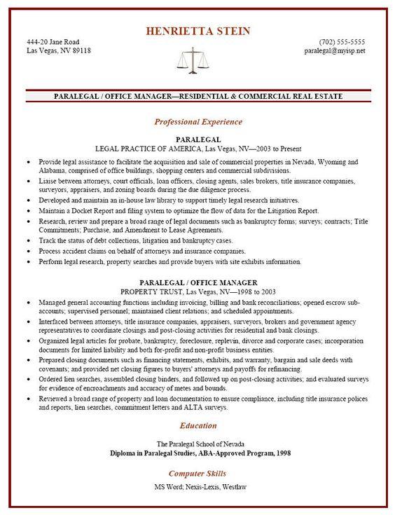 Certified Paralegal Resume Sample -    resumesdesign - real estate paralegal resume