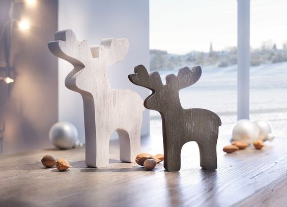 Tierfigur in schlichtem Design, weiß und dunkelbraun bemaltes Holz in trendiger Shabby-Optik  13 x 2 x 15 cm, 17 x 2 x 20 cm