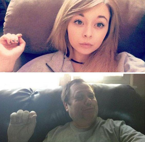 BOM HUMOR :) / Esse pai faz 'trolagem' recriando as 'selfies' de sua filha | +MMS