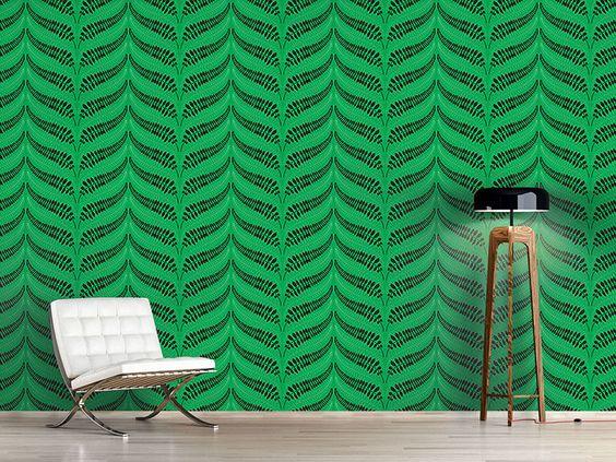 Design #Tapete Farnblätter Chevron