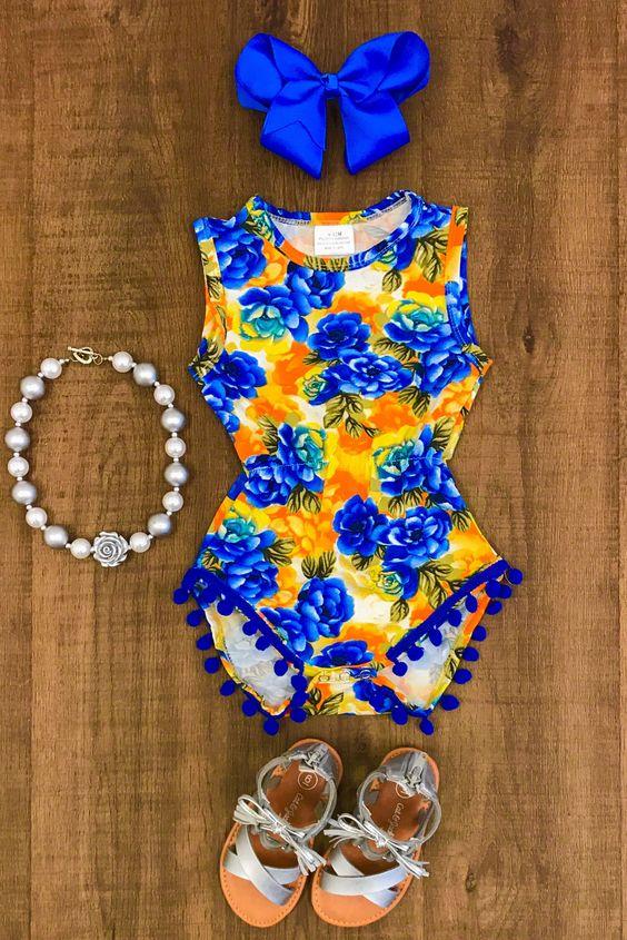 Сини и оранжеви цветя Pom Pom Romper