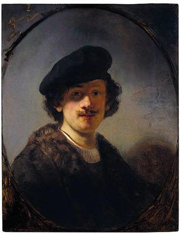 Self-Portrait with Shaded Eyes. Autoretrato con ojos sombreados. Rembrandt. 1634. Oil on panel. 70.8 X 55.2 cm. Wynn Collection. Las Vegas.