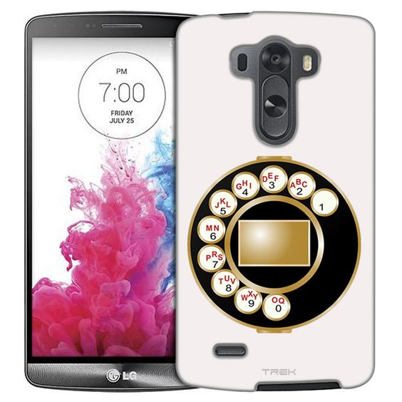 LG G3 Antique Telephone Dial Plate on White Slim Case