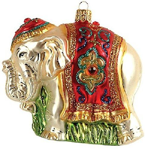 Indian Elephant Polish Glass Christmas Ornament Made In Poland Decoration Christmas Ornaments Top Brands Artists Designer Names Glass Christmas Tree Ornaments Christmas Decorations Ornaments Christmas Ornaments