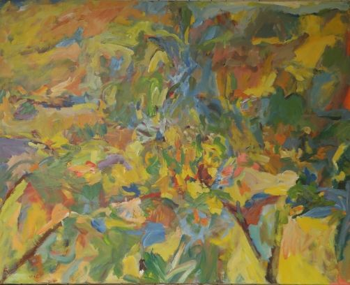 """FRED WISE: Out of Chaos. 60"""" x 48."""" Acrylic on Canvas, 2005. Painted during a week of services at Columbia Theological Seminary to remember victims of Hurricane Katrina. (Sold.)"""