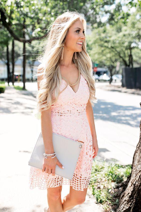 Summer Wedding Guest Dress // Blush Pink Laser Cut Lace Dress