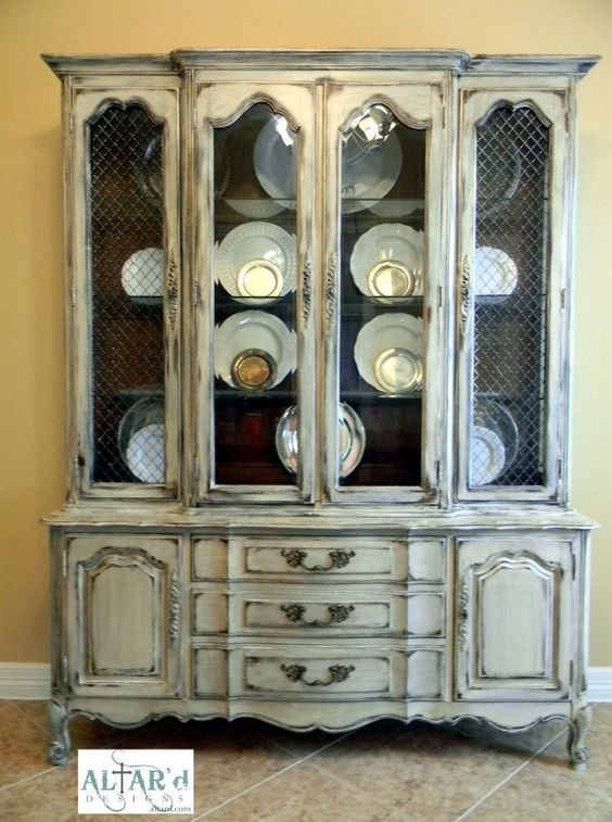 French provincial china cabinet hutch painted distressed for Painted dining room hutch ideas