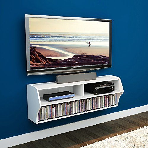 Elecwish 48 Inch Tv Wall Mounted Console Floating Media Shelf Audio Video Wall Mounted Tv Wall Mount Entertainment Center Floating Shelves Entertainment Center