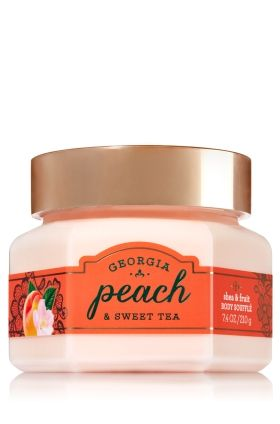 Georgia Peach & Sweet Tea - Shea & Fruit Body Souffl� - Signature Collection - Bath & Body Works - Lavish your skin with wholesome goodness! Our limited edition Shea & Fruit Body Souffl� is infused with Peach & Strawberry extracts, making it rich in antioxidant Vitamins A & C. Creamy Shea Butter melts into skin for a silky soft & smooth feeling, kissed with beautiful fragrance.