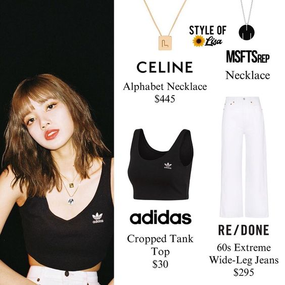 190827 | lalalalisa_m IG update 🌻 ⠀⠀⠀⠀⠀⠀⠀⠀⠀ ⠀⠀⠀⠀⠀ ⠀⠀ Lisa wears #celine necklace, @msftsrep necklace, #adidas top and #redone jeans…