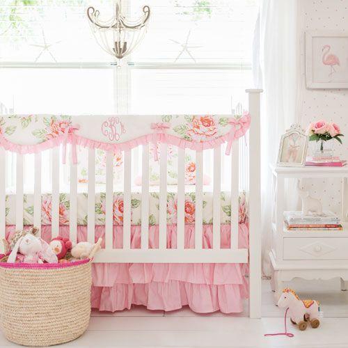 Hello Roses Cream Floral Bumperless Crib Collection Girl