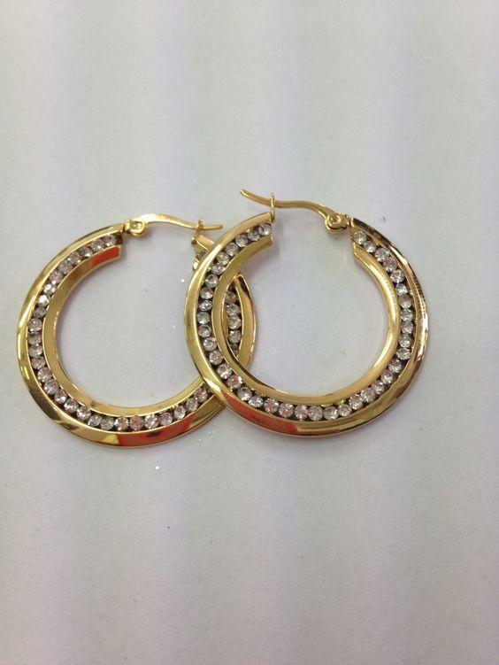 Boucles d'oreilles acier doré avec strass palé 20cm