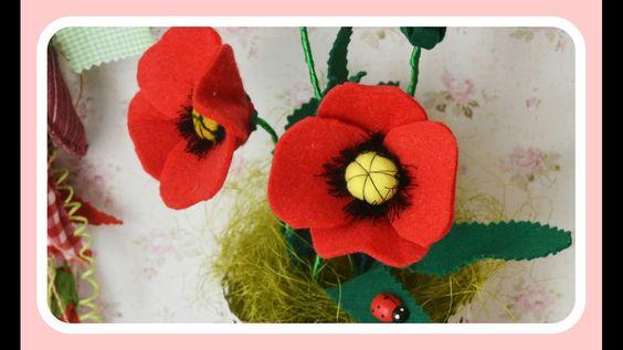 Sorteio & Como fazer Flores Papoilas de Feltros  ♥