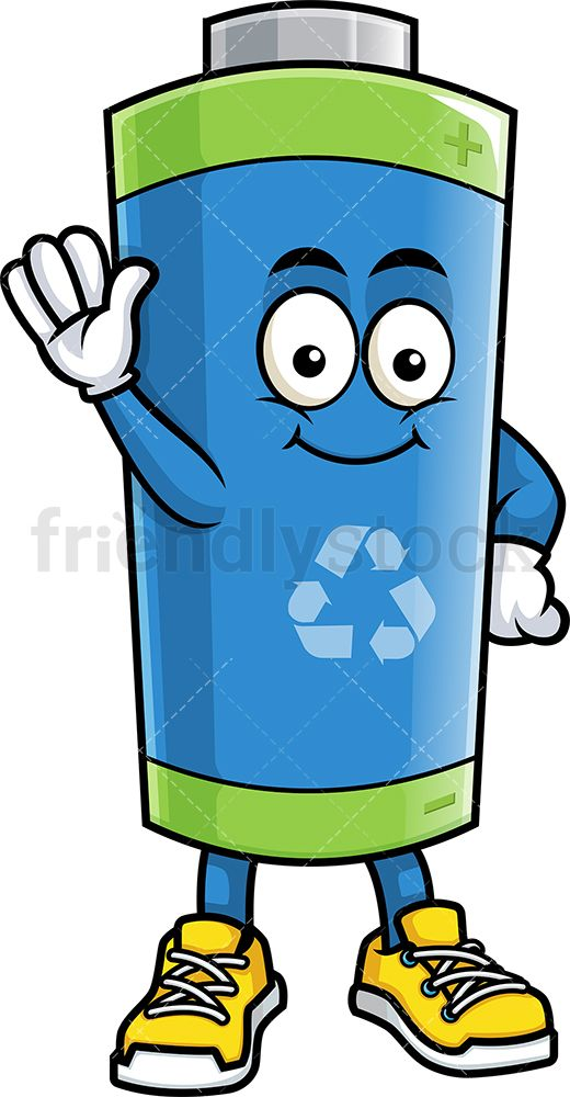 Eco Friendly Battery Waving Cartoon Clipart Vector Friendlystock Cartoon Clip Art Vector Illustration Clip Art