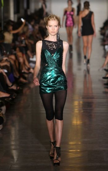 slashed lace, draped metallics and leggings, Jill Stuart, Spring 2010