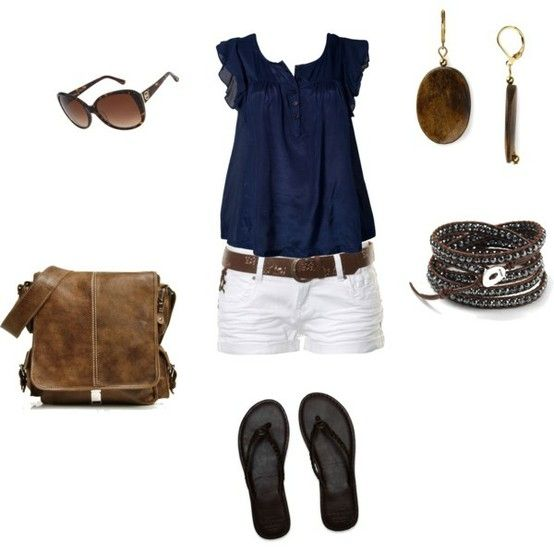 polyvore outfits for summer white shorts blue top | Navy blue top ...