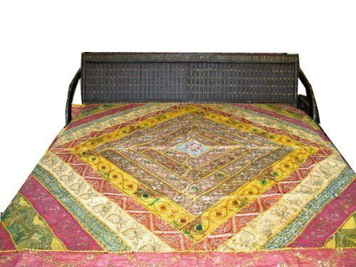 Yellow Bedspread Indian Vintage Sari Sequin Embroidery Bedcover Throw Wall Hanging by Mogulinterior,