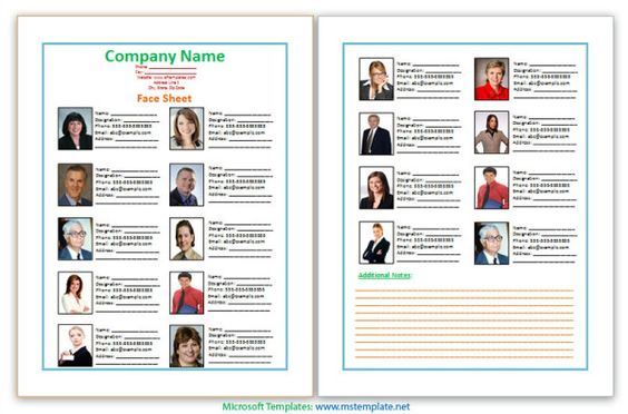 Business Face Sheet, Face Sheet Example, Face Sheet Formats, Face - biography template microsoft word