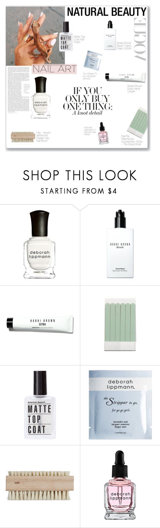"""""""N A I L  A R T"""" by jennytrends ❤ liked on Polyvore featuring beauty, Deborah Lippmann, Bobbi Brown Cosmetics, The Body Shop, nailart and natural"""