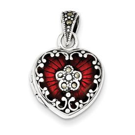 Sterling Silver Red Enamel & Marcasite Heart Locket | Shop qgold.com, then order with #JewelSmithAZ