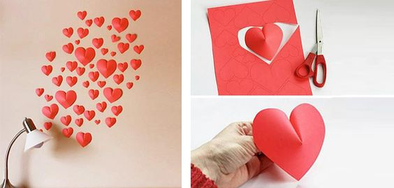 Decorar una pared con corazones de papel  a: