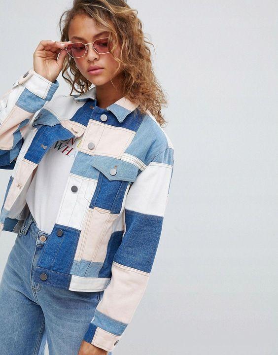 Kurtka Jeansowa Ramoneska Patchwork Xxl 44 7572089100 Oficjalne Archiwum Allegro Denim Trends Denim Outfit Denim Fashion