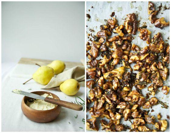 Roasted Pear & Ginger Cashew Ricotta Toast + Rosemary Walnuts // The Green Life