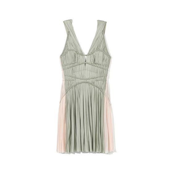 J. Mendel Sleeveless Hand Pleated Dress With Split Shoulder ($4,450) ❤ liked on Polyvore featuring dresses, j mendel dresses, pleated chiffon dress, open back cocktail dress, sleeveless chiffon dress and v-neck dresses