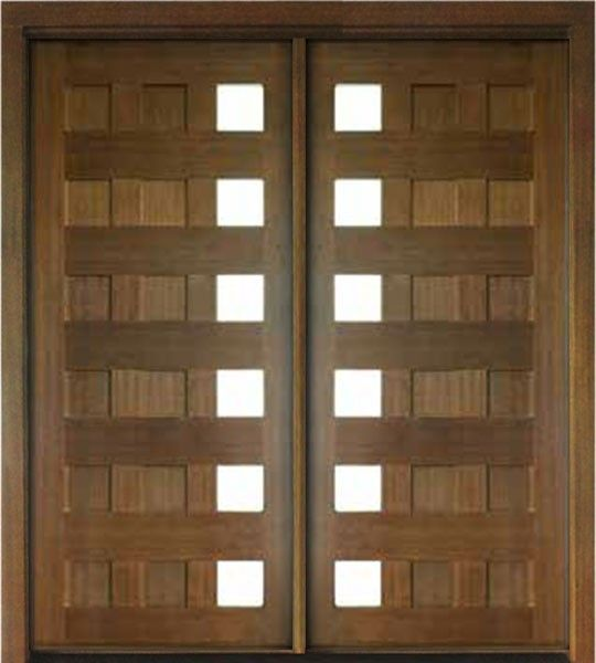 Mahogany Milan 12 Panel 6 Lite Impact Double Door Modern Exterior Doors Double Doors Custom Wood Doors