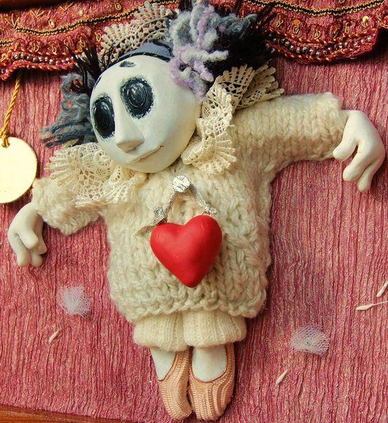 Skulpturen - Puppen - so unterschiedliche Herzen. Pierrot - ein Designerstück von Alisafurro bei DaWanda