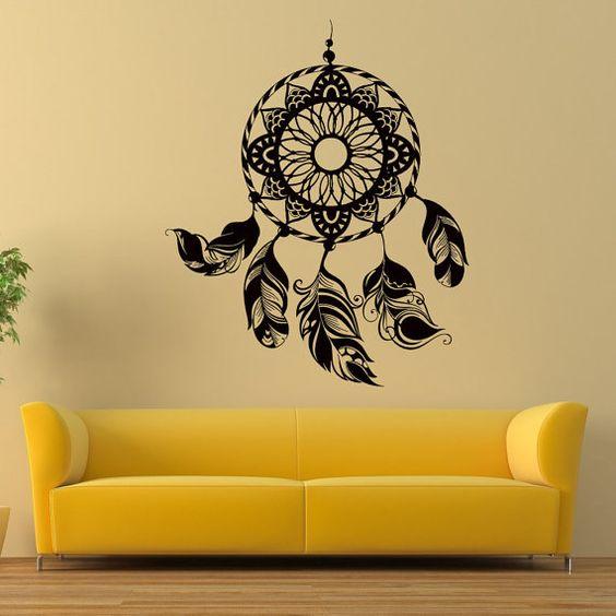 dreamcatcher dream catcher feather wall vinyl decal sticker wall decor home interior design art mural z398